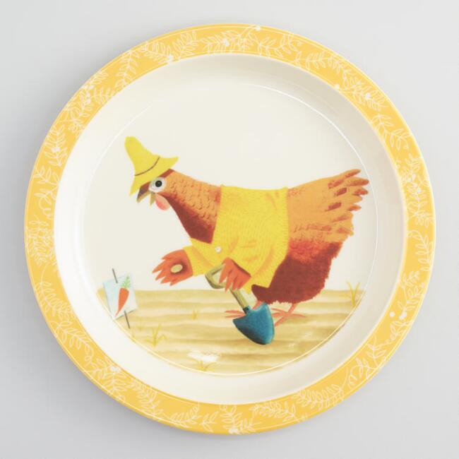 Little Red Hen Melamine Plates, Set of 4