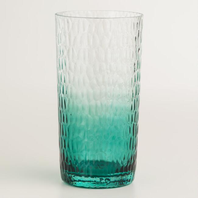 Acrylic Aqua Ombre Hobnail Glasses, Set of 6