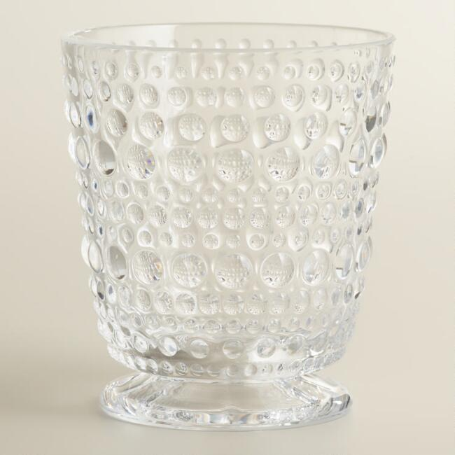Acrylic Clear Footed Hobnail Glasses, Set of 6
