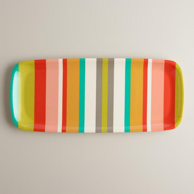 Melamine Striped Oblong Tray