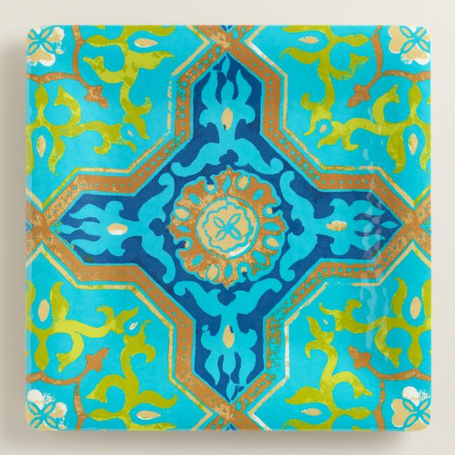 Melamine Large Square Sufi Tile Serving Tray