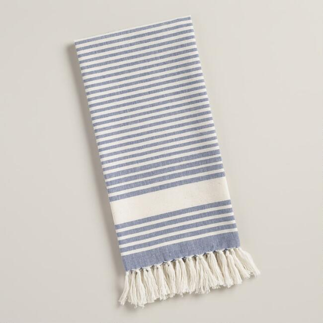 Blue and White Villa Stripe Kitchen Towels, Set of 2