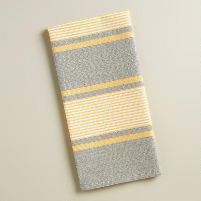 Gray And Yellow Striped Loire Kitchen Towels Set Of 2