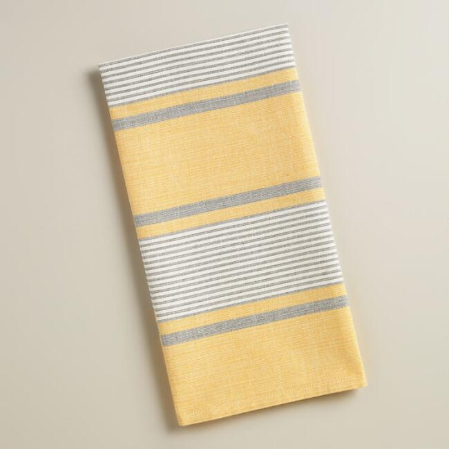 Yellow and Gray Striped Loire Kitchen Towels, Set of 2