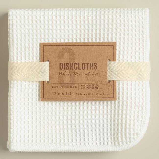 White Waffle Weave Microfiber Dish Cloths, Set of 3