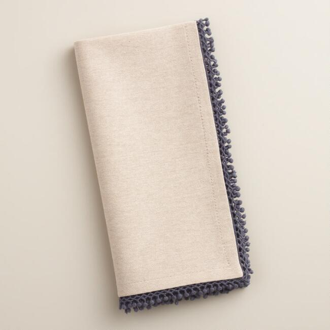 Gray Chambray Crochet Napkins, Set of 4