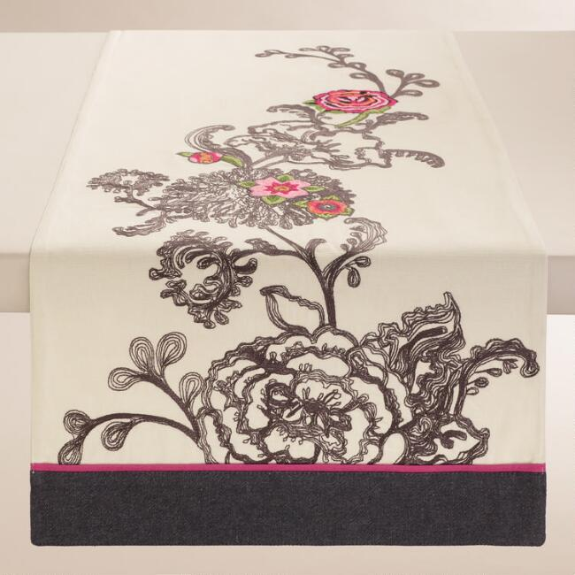 Embroidered Floral Laurent Table Runner