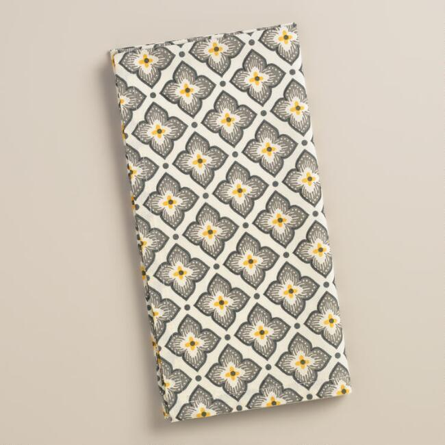 Yellow and Gray Medallion Cotton Napkins, Set of 4