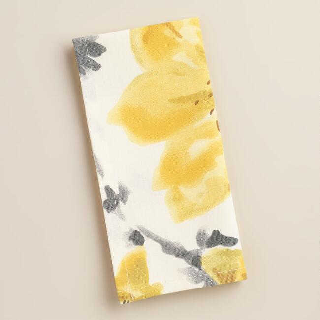 Yellow and Gray Floral Fleurs Napkins, Set of 4