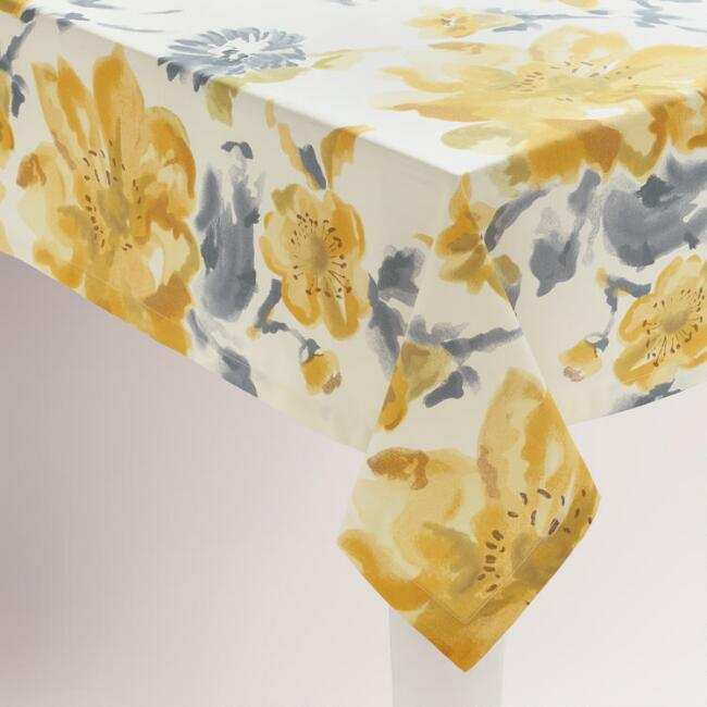 Yellow and Gray Floral Fleurs Tablecloth