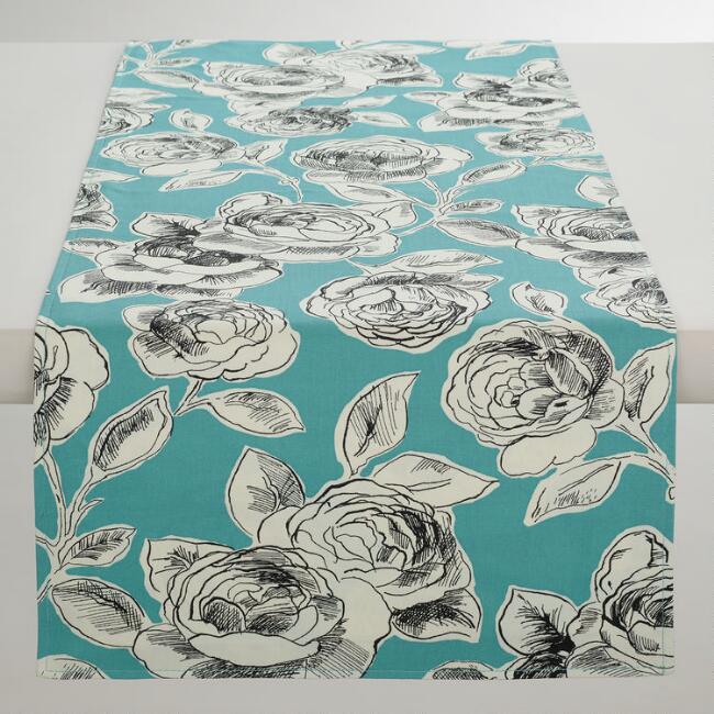 Aqua, Black and White Floral Rosie Table Runner