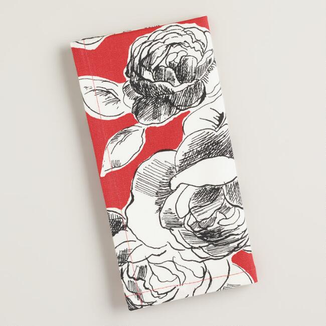 Red, Black and White Floral Rosie Napkins, Set of 4