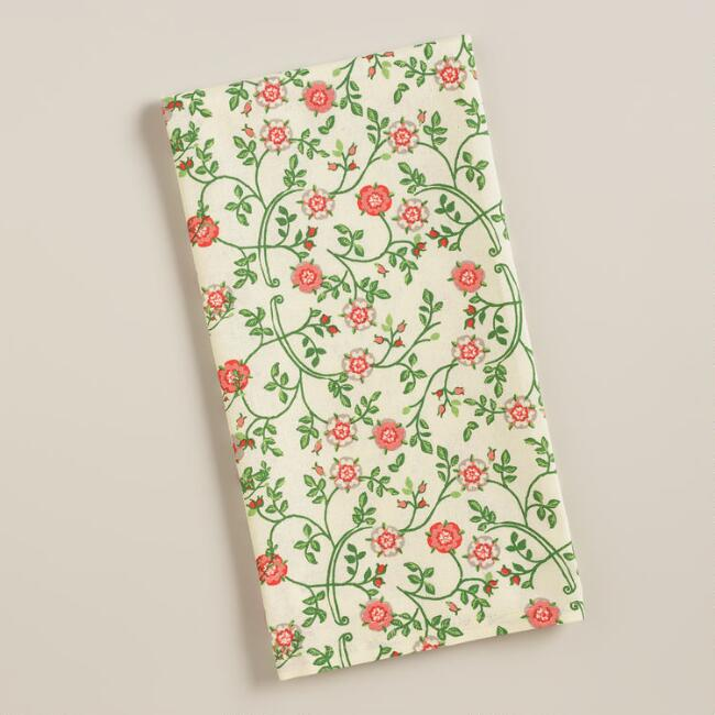 Floral Elizabethan Rose Kitchen Towels, Set of 2