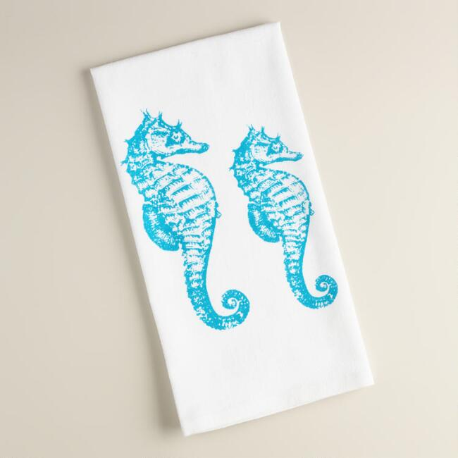 Seahorse Flour Sack Kitchen Towels, Set of 2