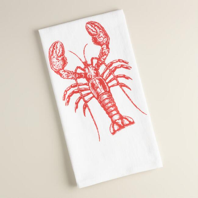 Lobster Flour Sack Kitchen Towels, Set of 2