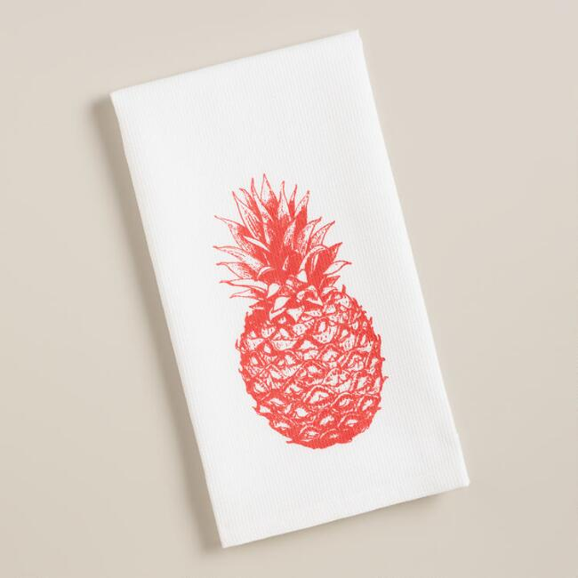 Pineapple Waffle Weave Kitchen Towels, Set of 2