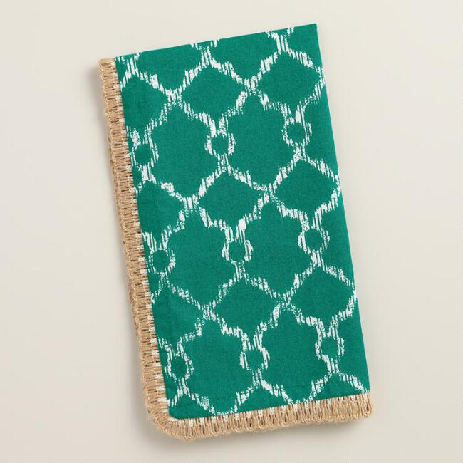 Teal Lattice Ethel Napkins with Jute Trim, Set of 4