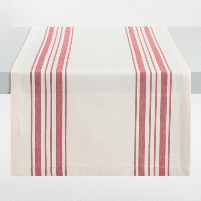 Red Villa Stripe Table Runner