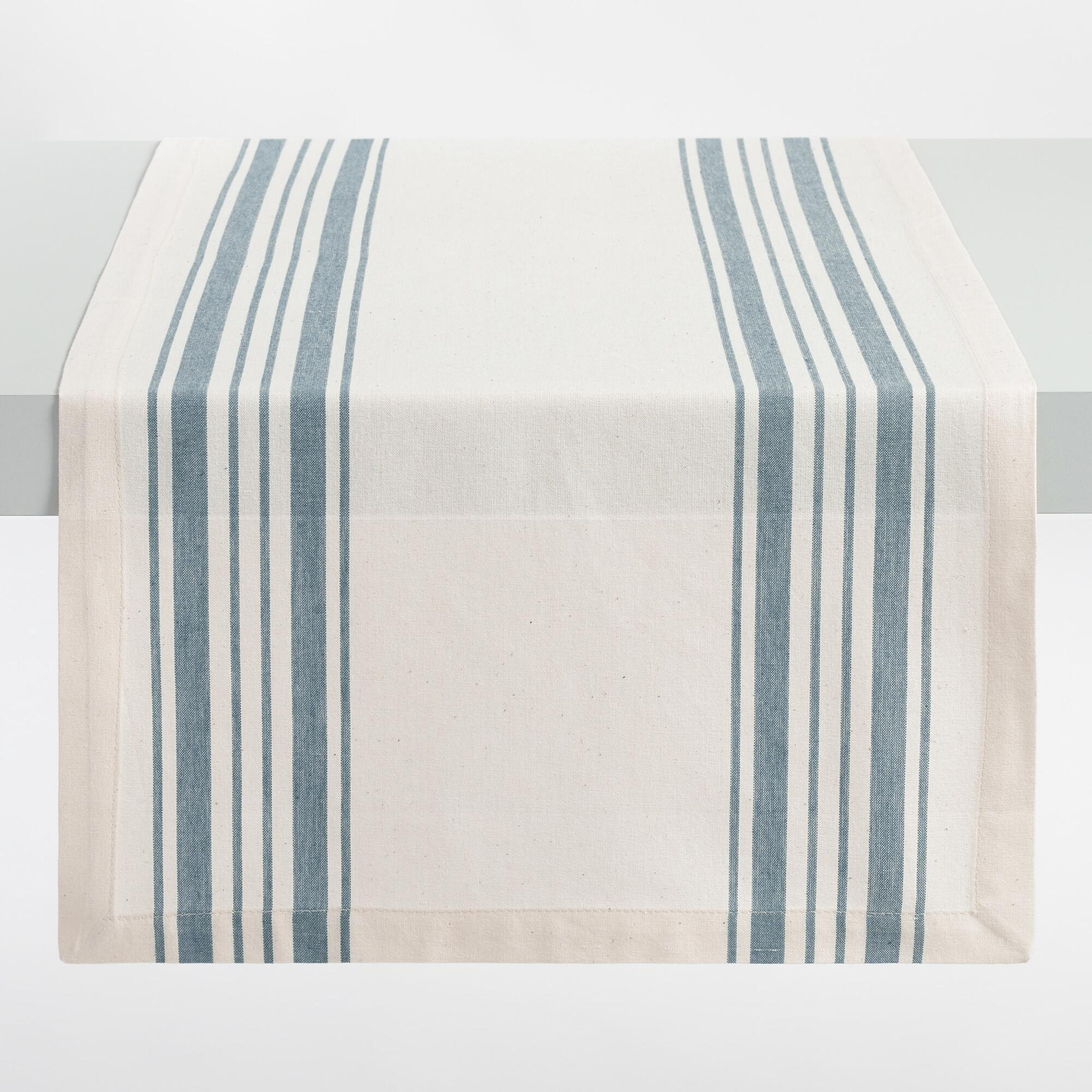 Bamboo black table runner 72 inches checkered kitchen linen dining - Blue Villa Stripe Table Runner