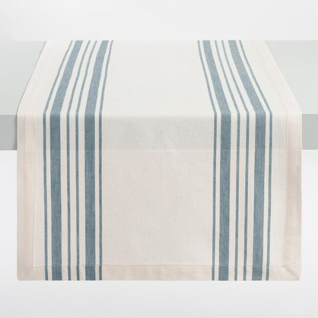 Blue Villa Stripe Table Runner