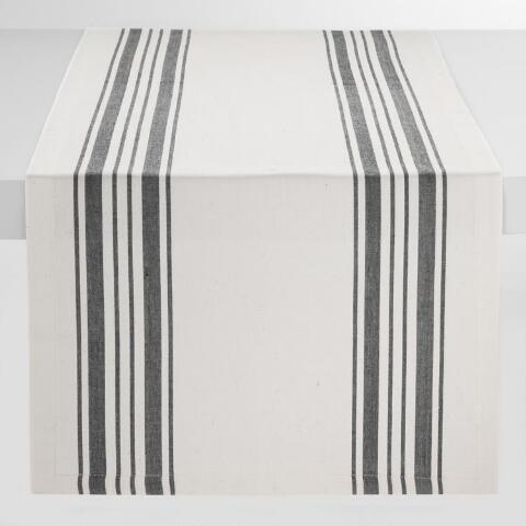 Black Villa Stripe Table Runner World