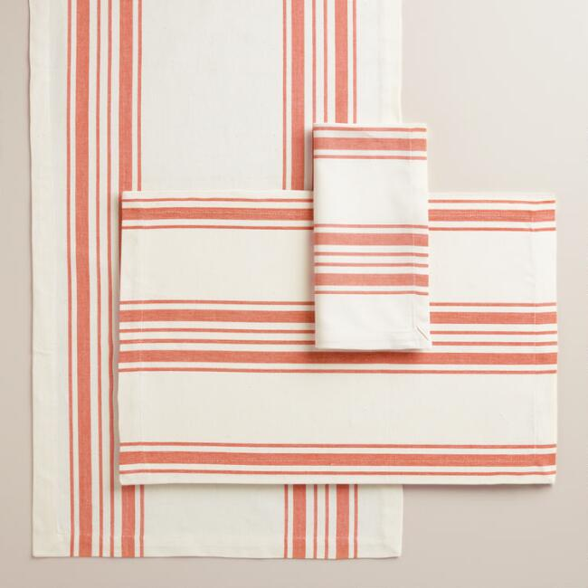 Orange Villa Stripe Table Linen Collection