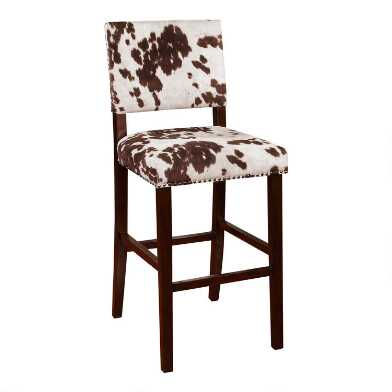 Brown Faux Cowhide Addison Upholstered Barstool