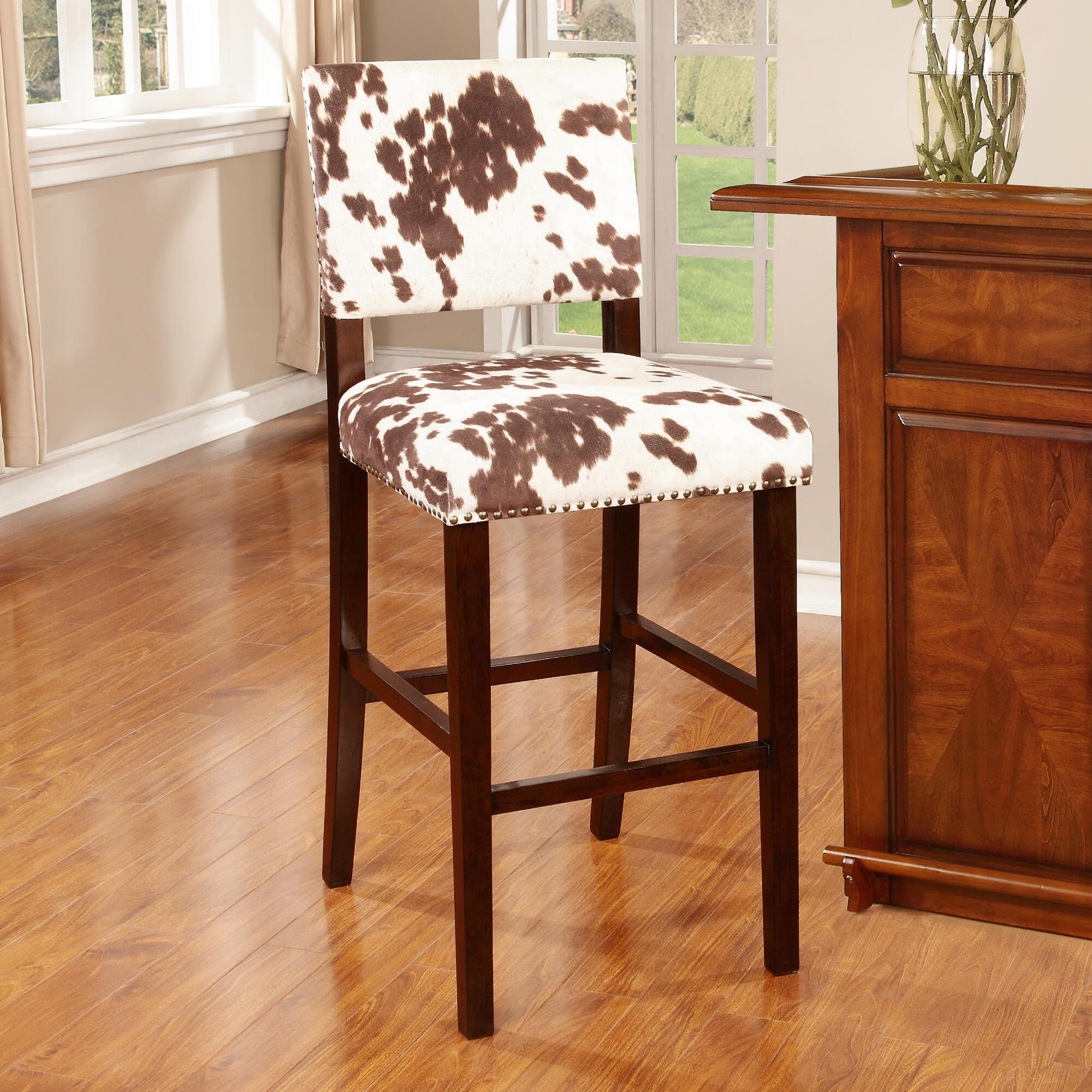 Brown Cow-Print Addison Bar Stool | World Market