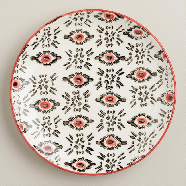 Red Stripe Holland Park Plates, Set of 4