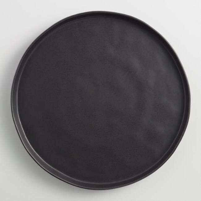Black Organic Rimmed Charger Plates, Set of 4