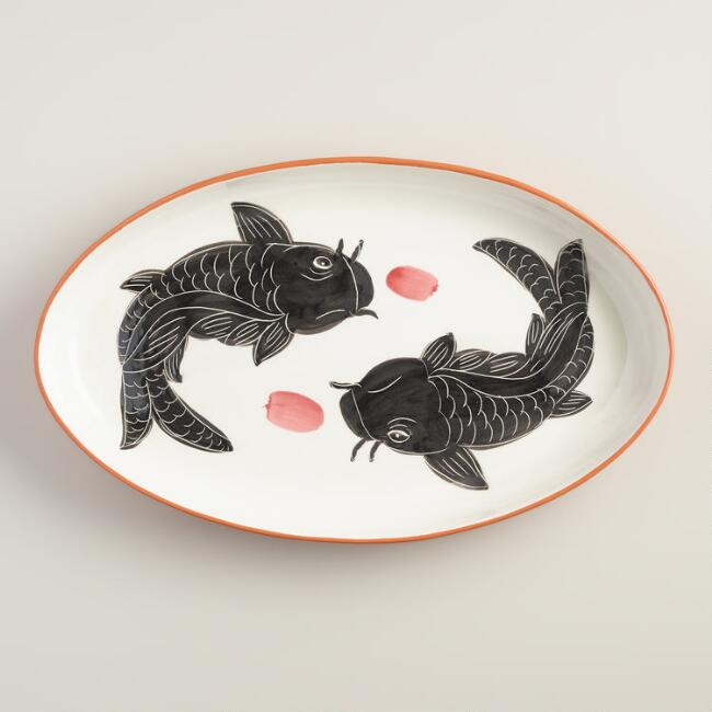 Oval Koi Serving Platter