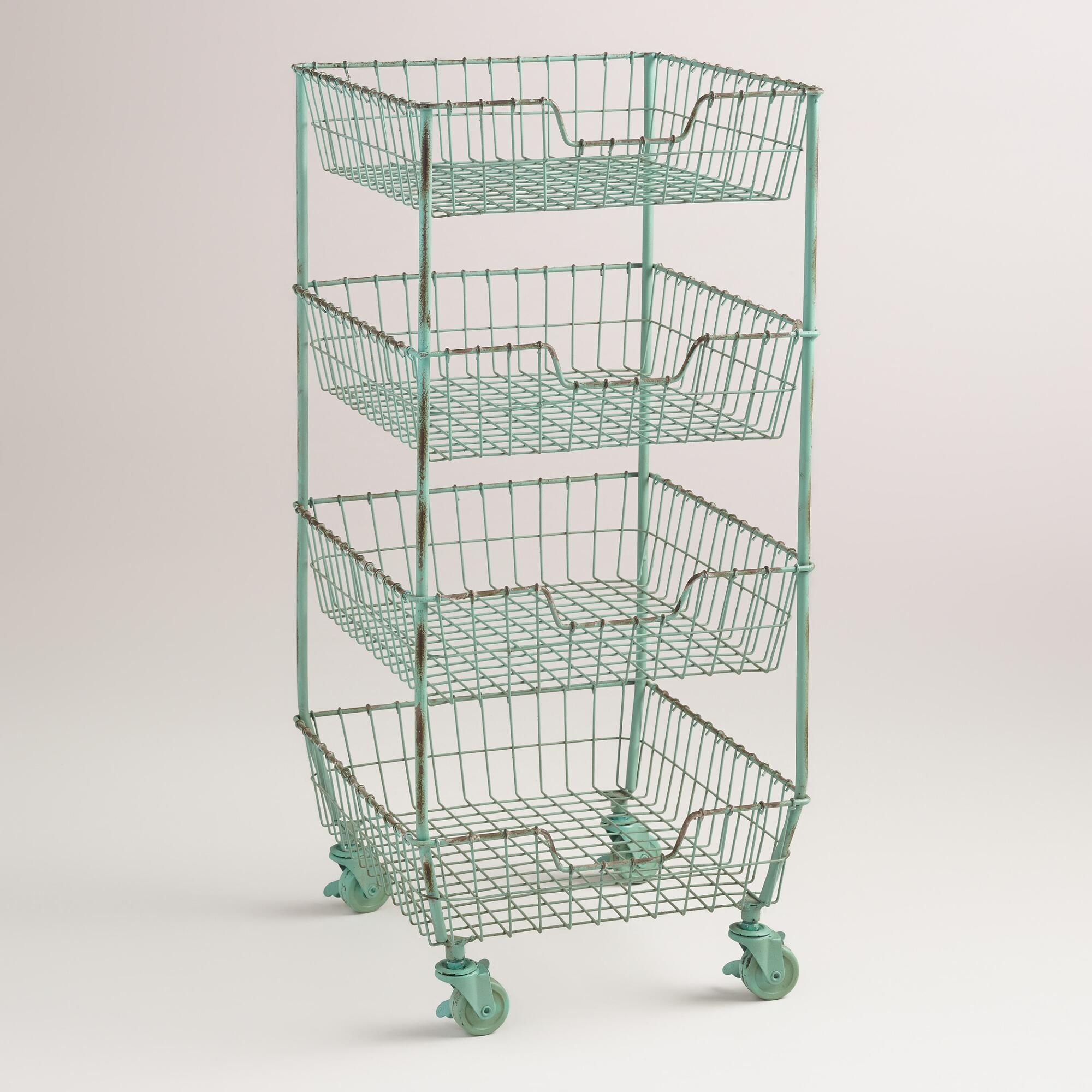 Wire 4-Basket Jamison Rolling Cart   World Market