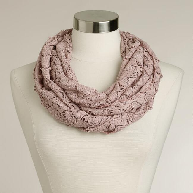 Blush Open-Weave Infinity Scarf