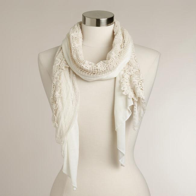 Ivory Lace Crochet Infinity Scarf