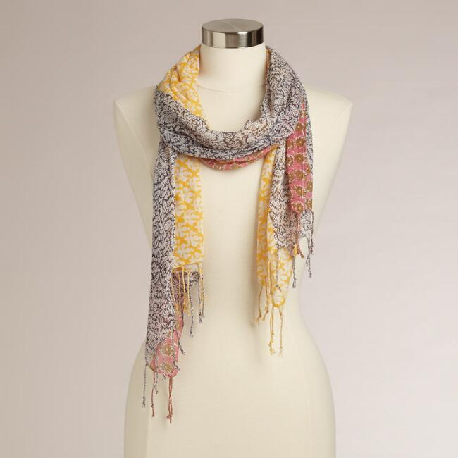 Yellow and Coral Mixed Print Floral Scarf