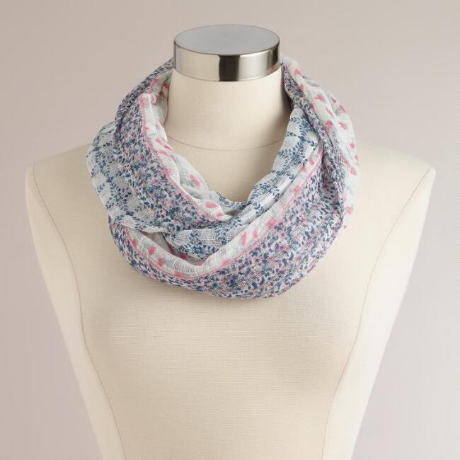 Blue and Pink Checked Flower Infinity Scarf