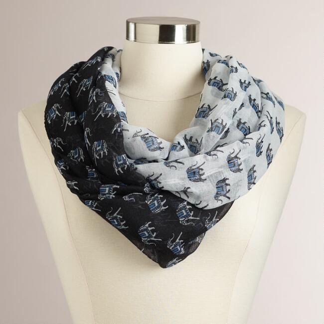 Blue Elephants Infinity Scarf