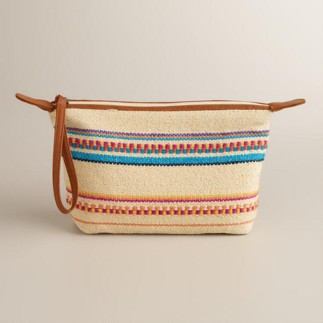 Woven Natural Multicolor Wristlet