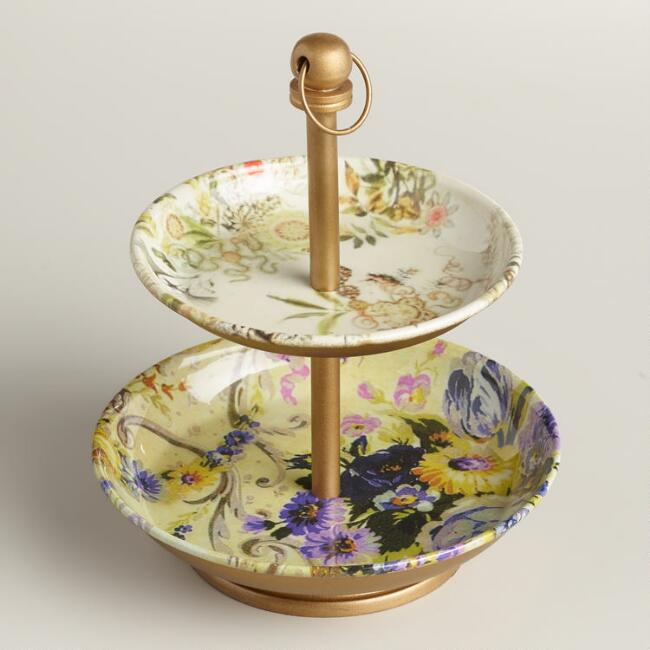Yellow and Purple Enameled 2-Tiered Jewelry Stand