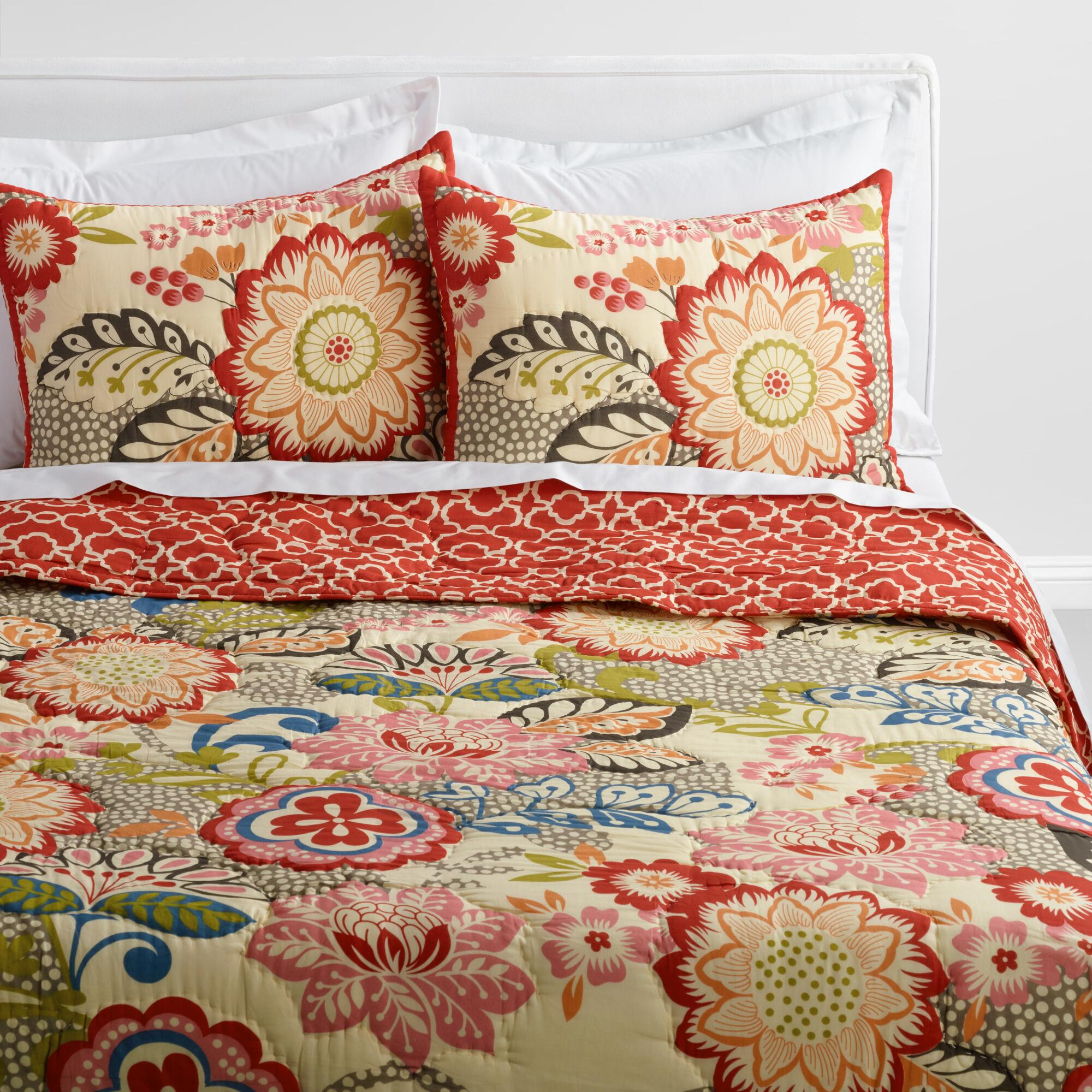 Floral and Geometric Darby Reversible Quilt | World Market : quilts - Adamdwight.com