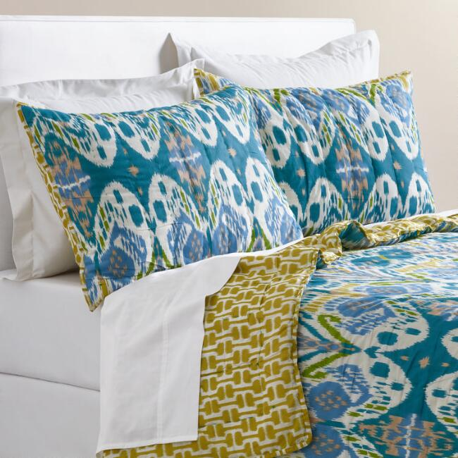 Blue Ikat Lexie Reversible Quilt
