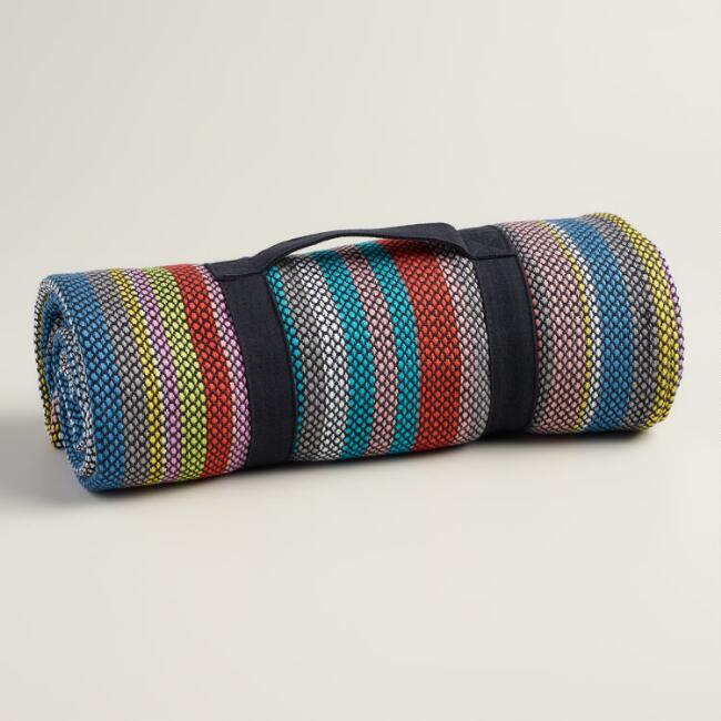 Multicolor Stripe Cotton Picnic Blanket