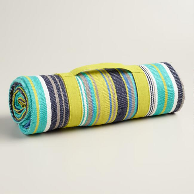 Blue Stripe Cotton Picnic Blanket