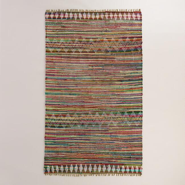 5'x8' Geometric Cotton Chindi Kelden Area Rug