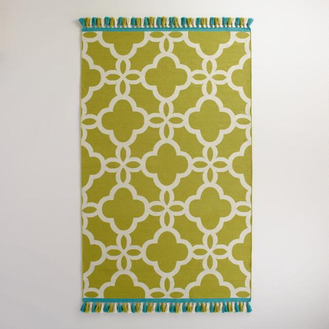 Green Lattice Indoor-Outdoor Rug