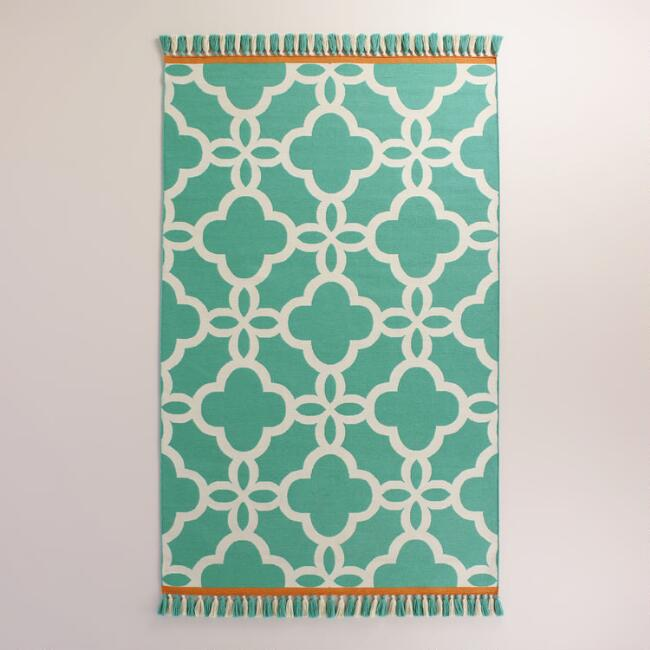 Lagoon Blue Lattice Indoor-Outdoor Rug