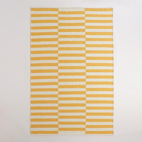 Yellow And White Striped Dhurrie Area Rug Previous V2 V1