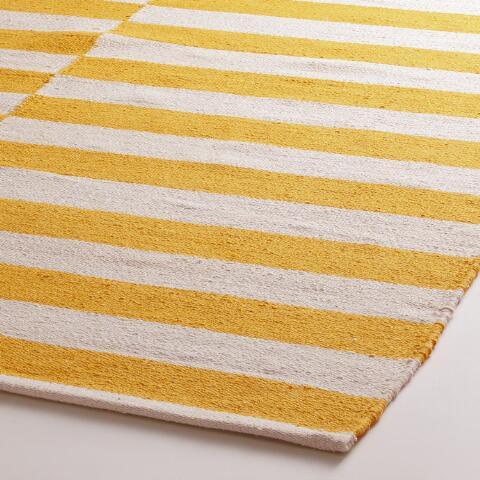 Yellow And White Striped Dhurrie Area Rug Previous V2