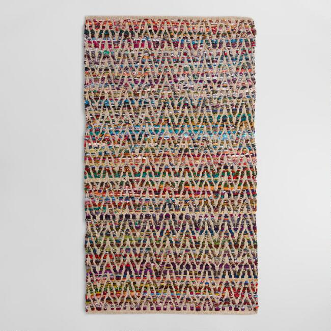 Chevron Recycled Cotton Chindi Area Rug
