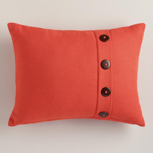 Persimmon Basketweave Lumbar Pillow with Button
